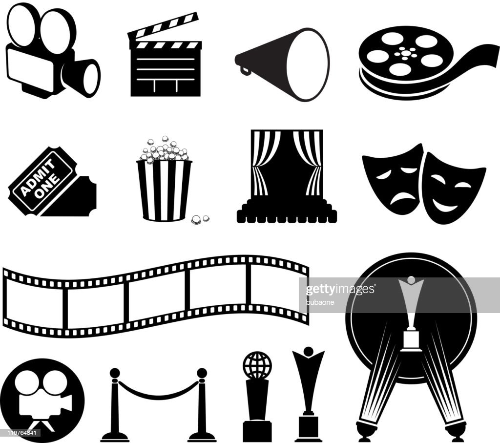 film and movies black & white vector icon set