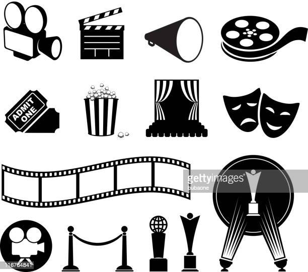illustrazioni stock, clip art, cartoni animati e icone di tendenza di film di film in bianco e nero icona set vettoriale & - industria cinematografica