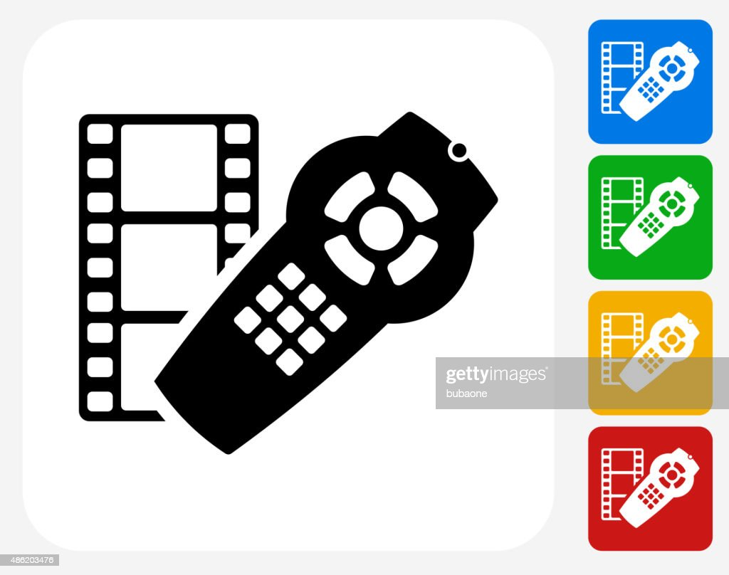 Film and Remote Icon Flat Graphic Design