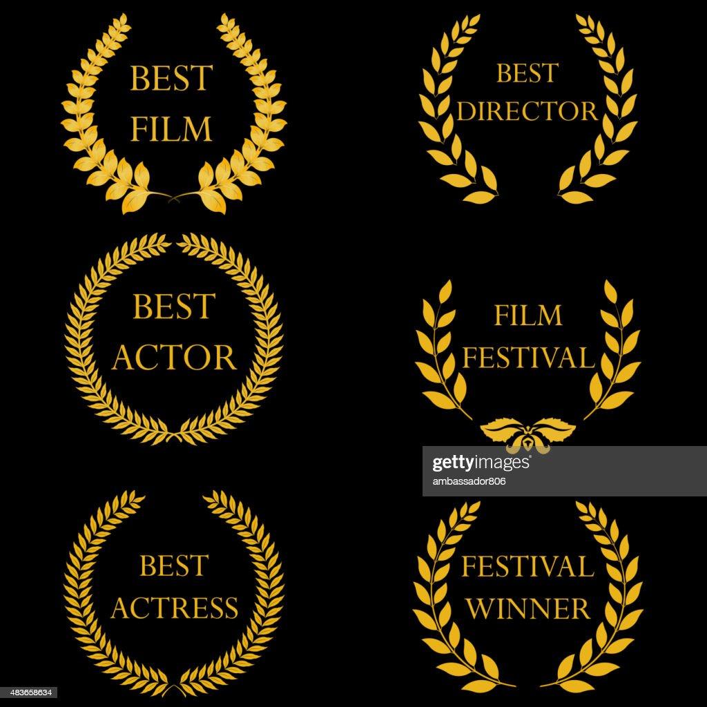 Film awards. Golden round laurel wreaths