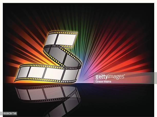 ilustraciones, imágenes clip art, dibujos animados e iconos de stock de fondo de vector de - rollo de cine