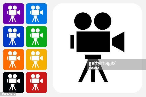 film camera icon square button set - film camera stock illustrations, clip art, cartoons, & icons