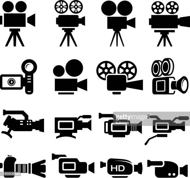film camera old and new black & white icon set - video camera stock illustrations, clip art, cartoons, & icons