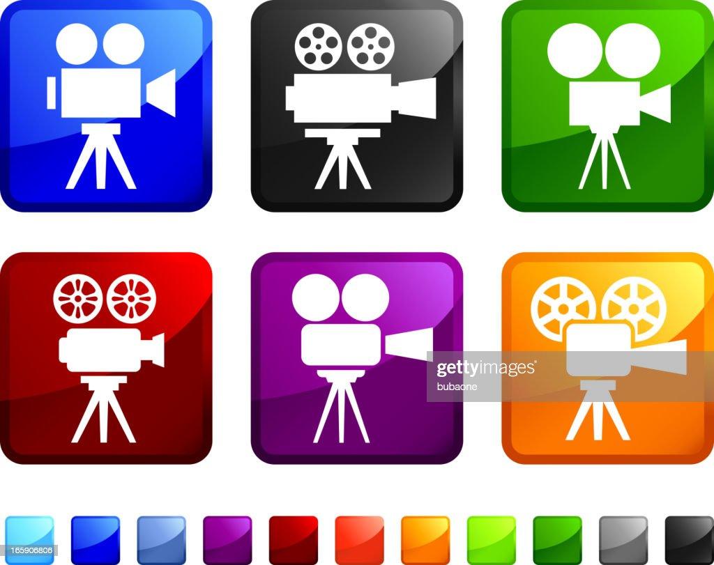 Film Camera royalty free vector icon set stickers : stock illustration