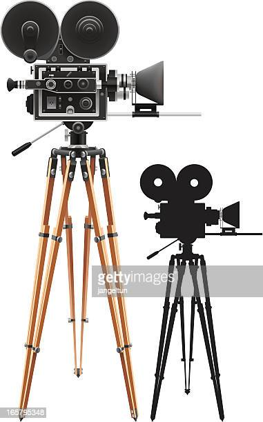 Film cameras set up for filming