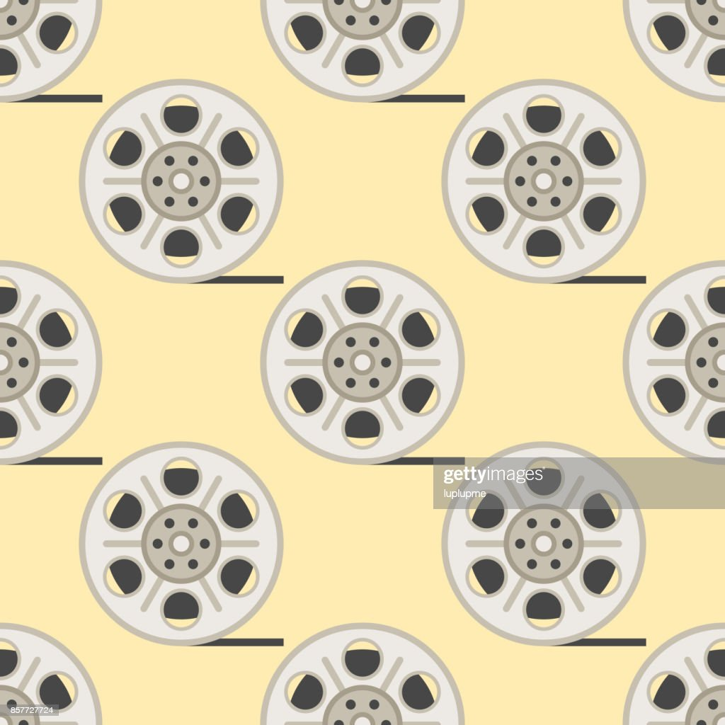 Film cinema technology seamless pattern vector twisted movie strip with round box roll illustration