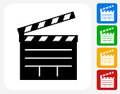Film Clapper Board Icon Flat Graphic Design