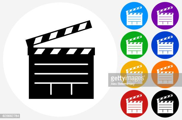 ilustraciones, imágenes clip art, dibujos animados e iconos de stock de film clapper board icon on flat color circle buttons - claqueta de cine