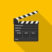 Film clapper board icon on yellow background with shadow. Blank movie clapper cinema