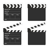 Film clapper board set isolated on white background. Blank movie clapper cinema