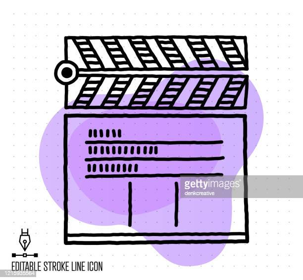 film cutting vector editable line illustration - film studio stock illustrations