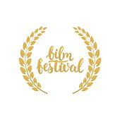 Film festival awards in golden color with laurel wreath and 2017 text
