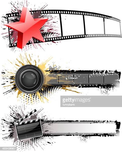 film industry banner - film camera stock illustrations, clip art, cartoons, & icons