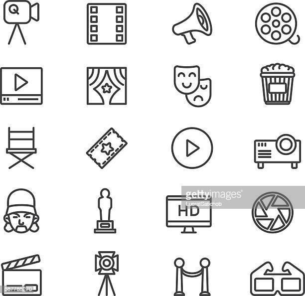 film industry cinema theatre line icons   eps10 - film director stock illustrations