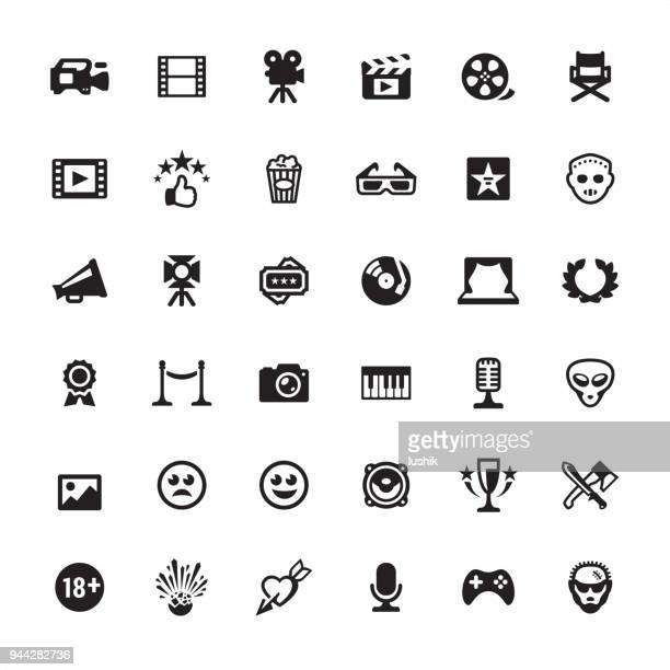 film industry icon set - video camera stock illustrations, clip art, cartoons, & icons