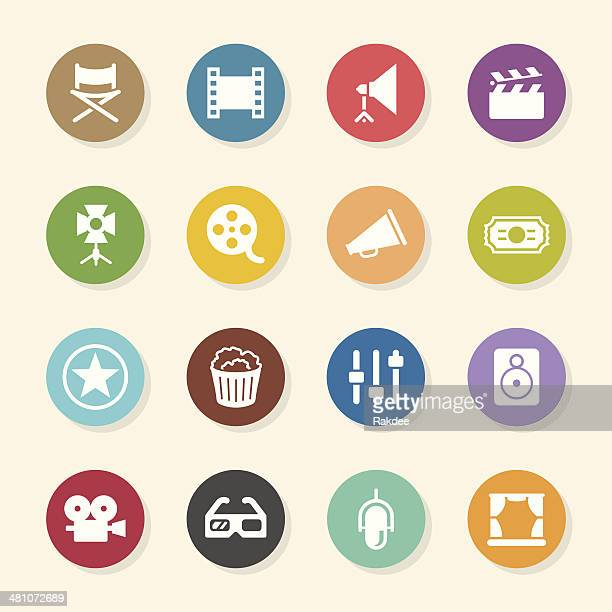 film industry icons - color circle series - film studio stock illustrations, clip art, cartoons, & icons