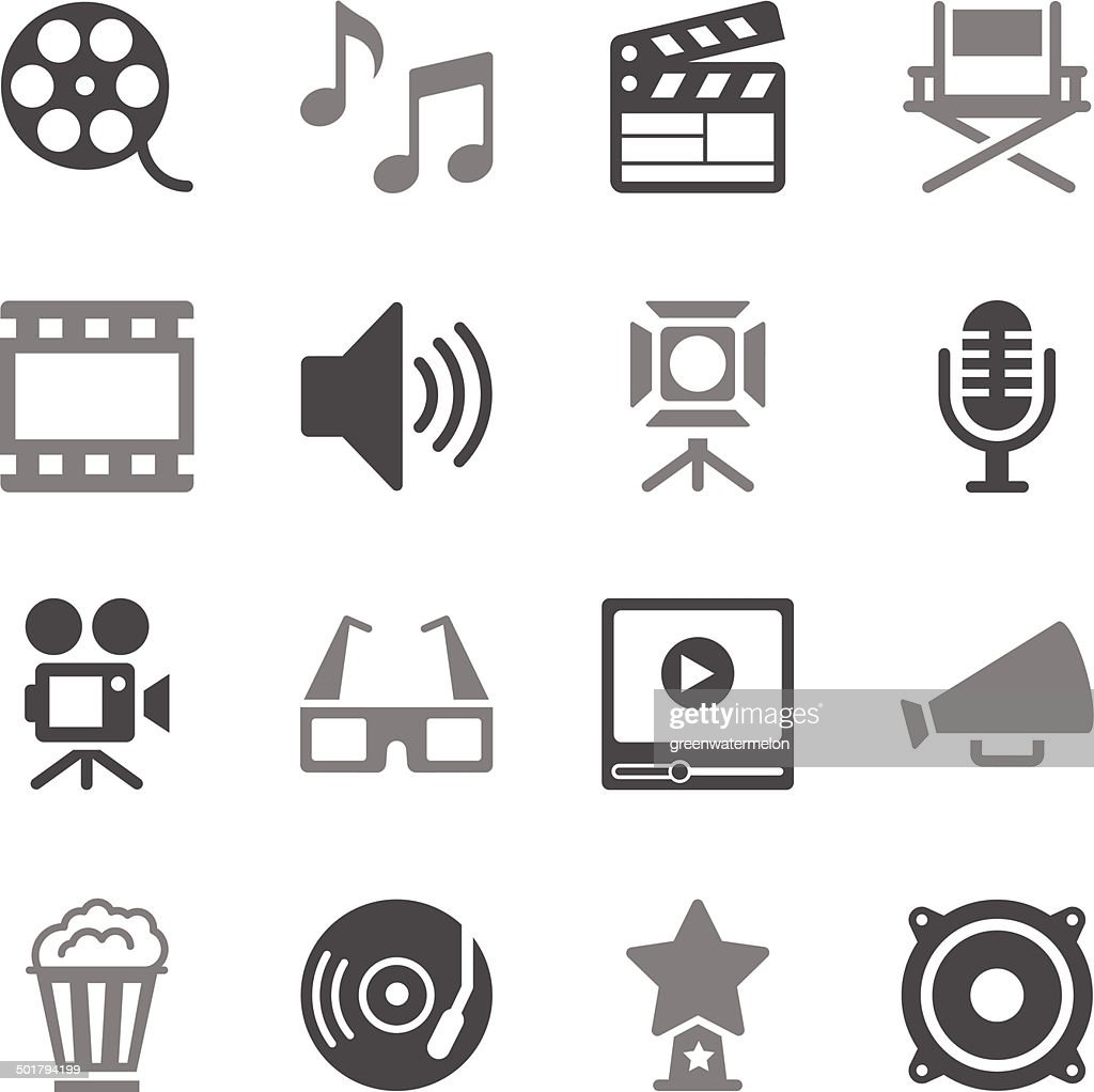 Film Industry Icons Gray Color