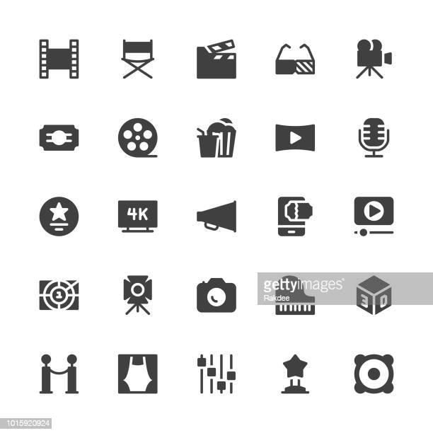 film industry icons - gray series - film studio stock illustrations, clip art, cartoons, & icons