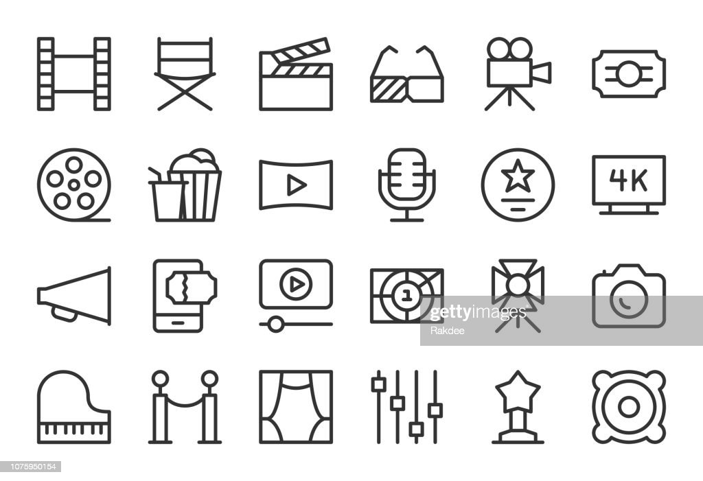 Film Industry Icons - Light Line Series : stock illustration
