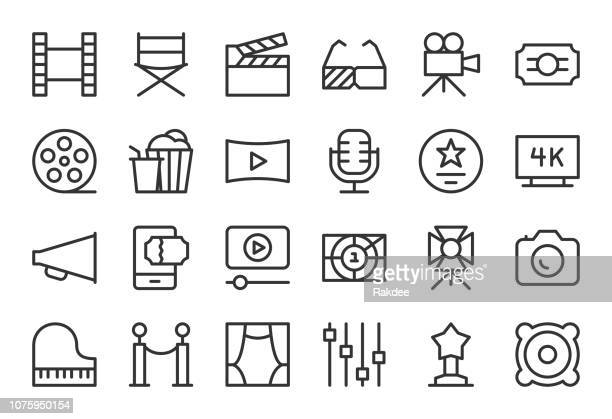 film industry icons - light line series - video camera stock illustrations, clip art, cartoons, & icons