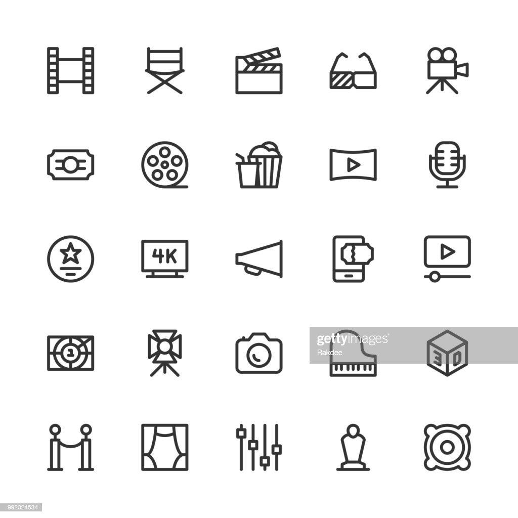 Film Industry Icons - Line Series : stock illustration