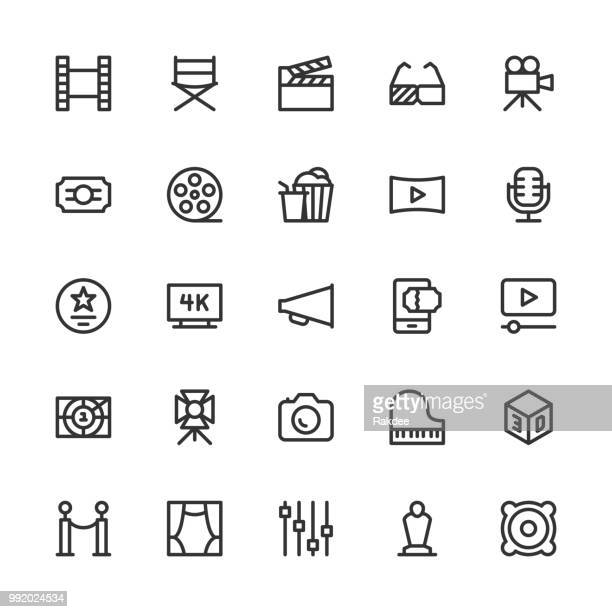 film industry icons - line series - film studio stock illustrations, clip art, cartoons, & icons