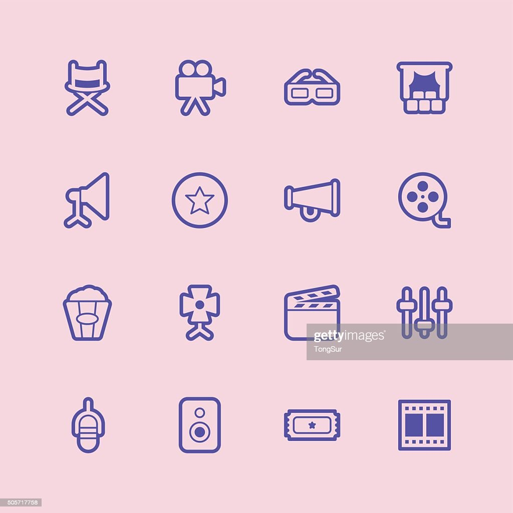 Film Industry icons - Regular Outline Color : stock illustration