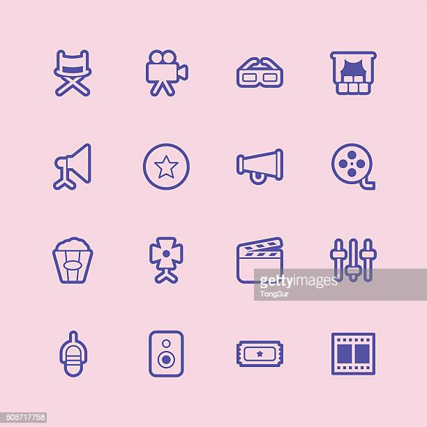 film industry icons - regular outline color - film studio stock illustrations, clip art, cartoons, & icons
