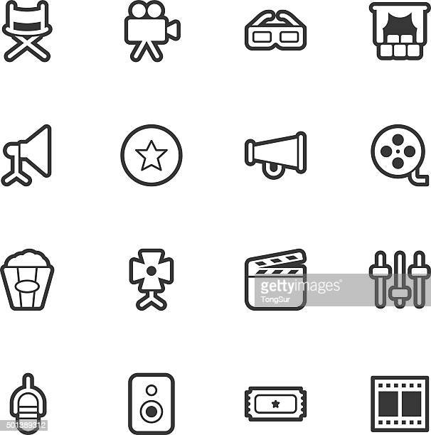 film industry icons - regular outline - film studio stock illustrations, clip art, cartoons, & icons