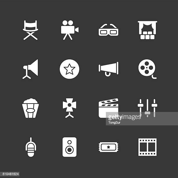 film industry icons - regular - white series - film studio stock illustrations, clip art, cartoons, & icons