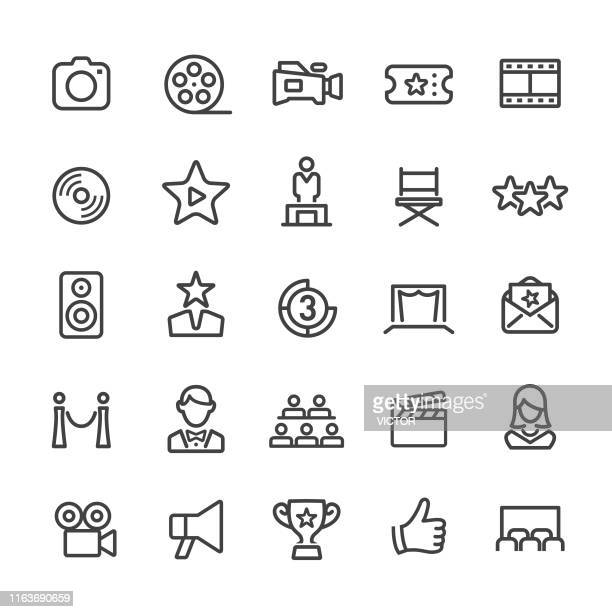 film industry icons - smart line series - performing arts event stock illustrations