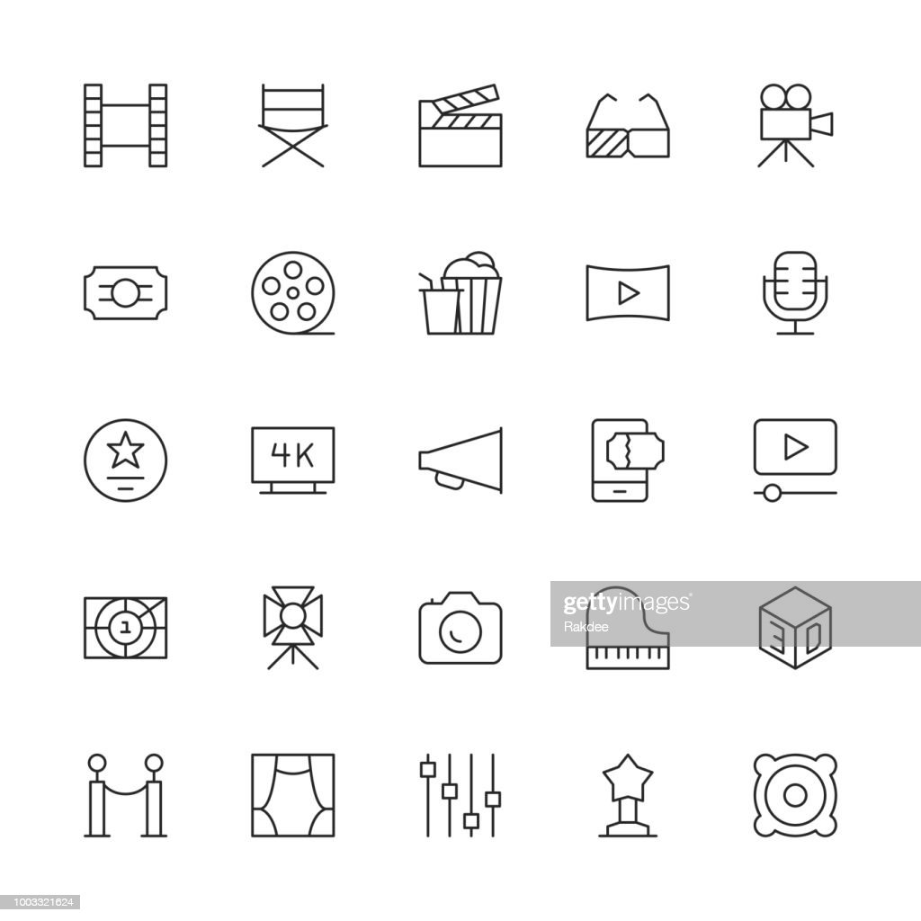 Film Industry Icons - Thin Line Series : stock illustration