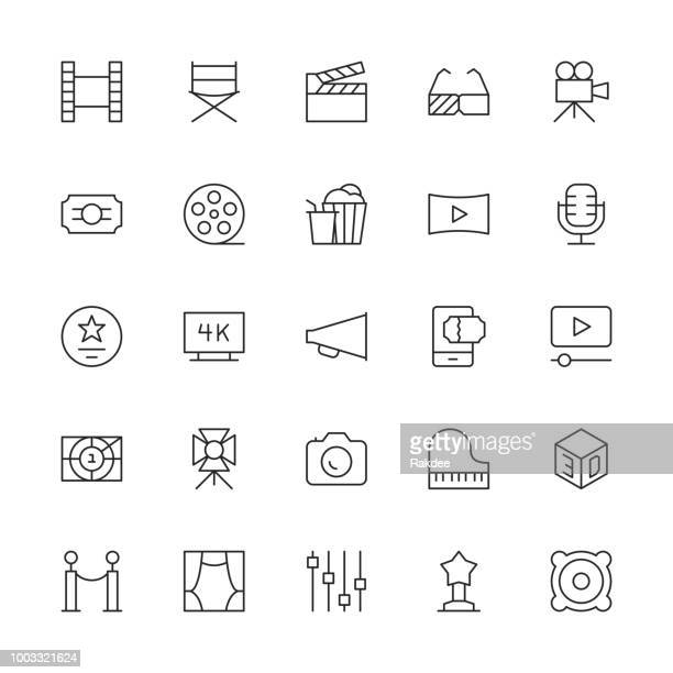 film industry icons - thin line series - video camera stock illustrations, clip art, cartoons, & icons