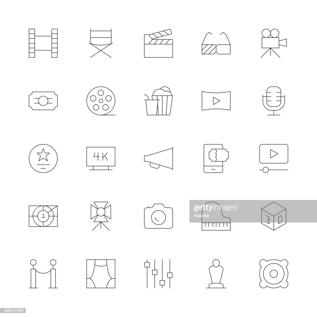 Film Industry Icons - Ultra Thin Line Series : stock illustration