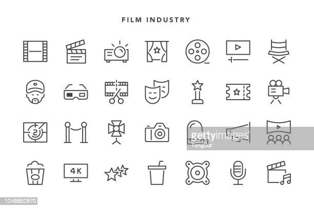 film industry icons - ultra high definition television stock illustrations