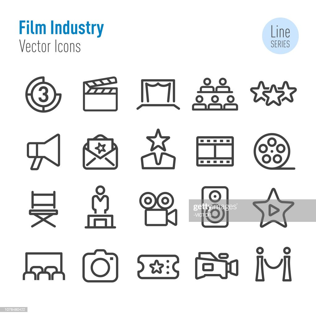 Film Industry Icons - Vector Line Series : stock illustration