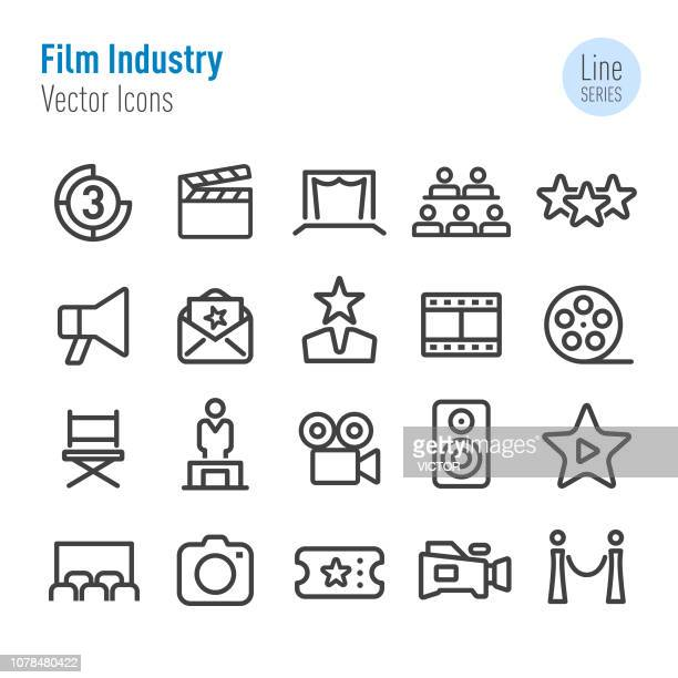illustrazioni stock, clip art, cartoni animati e icone di tendenza di film industry icons - vector line series - premiere event