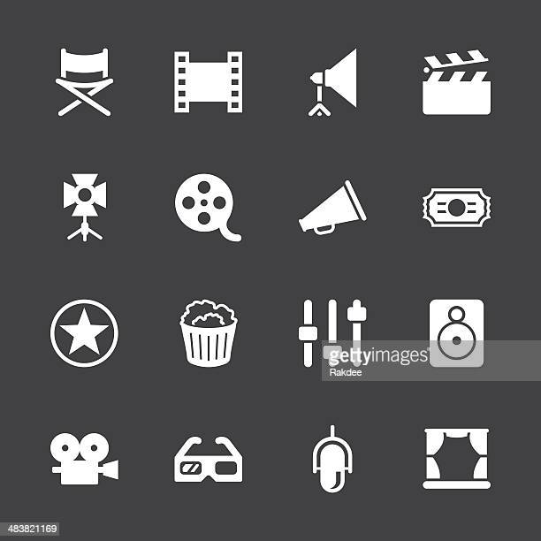 film industry icons - white series | eps10 - film studio stock illustrations, clip art, cartoons, & icons