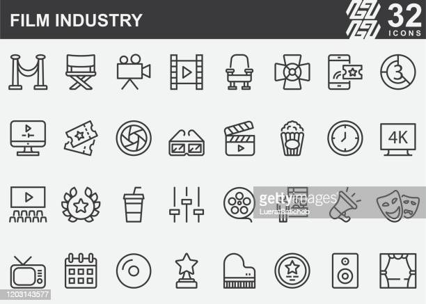 film industry line icons - ultra high definition television stock illustrations