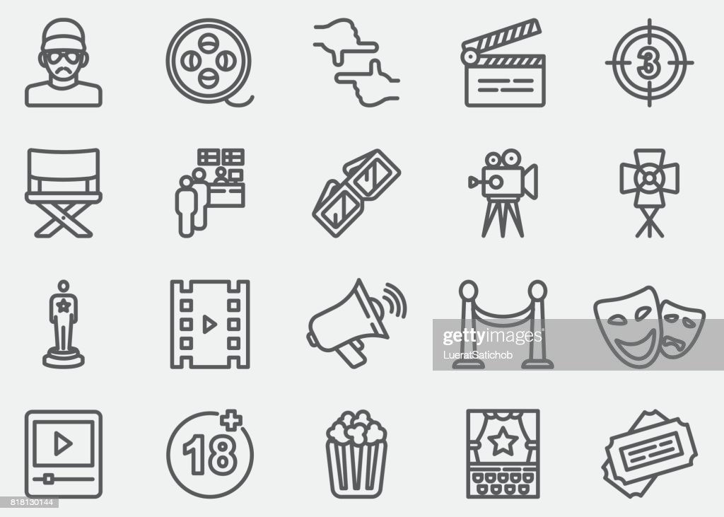 Film industry Line Icons : stock illustration