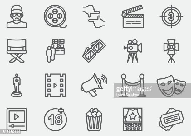 film industry line icons - film stock illustrations, clip art, cartoons, & icons