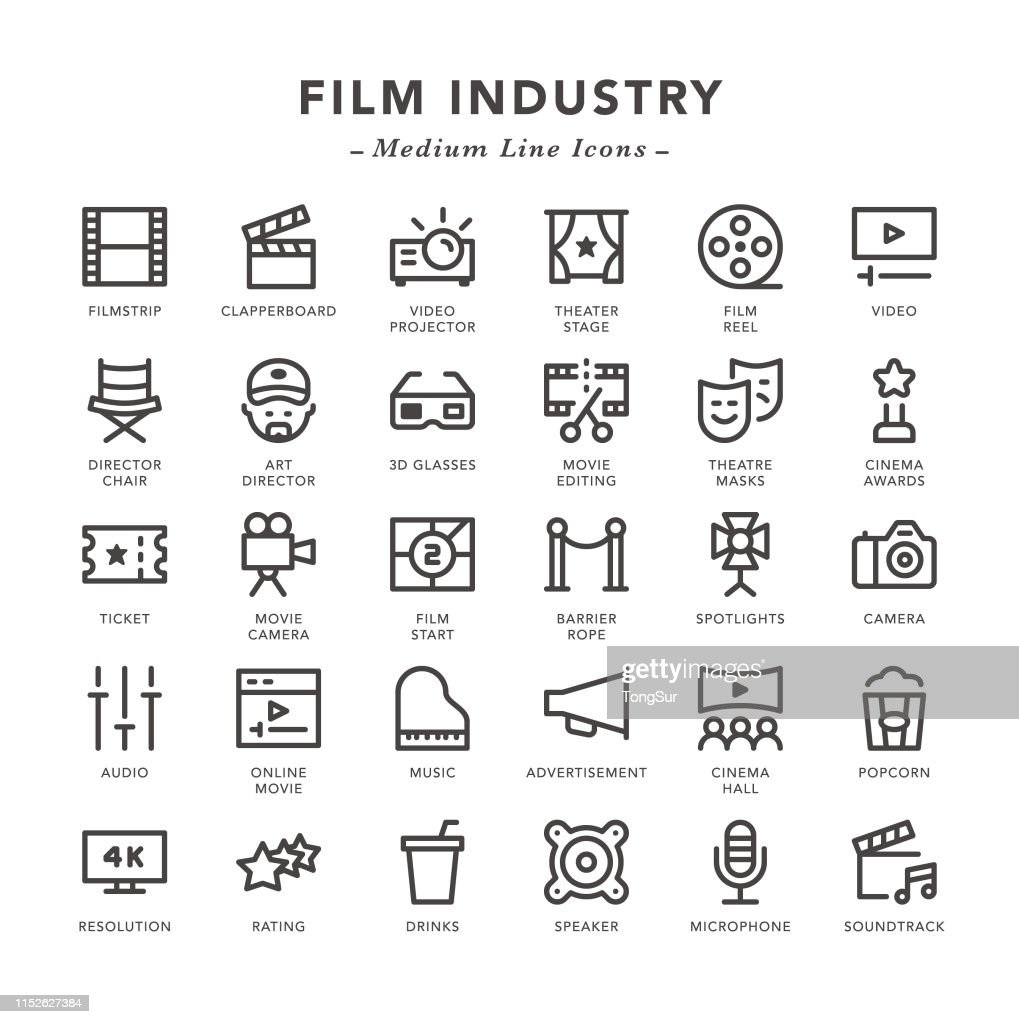 Film industry - Medium Line Icons : stock illustration