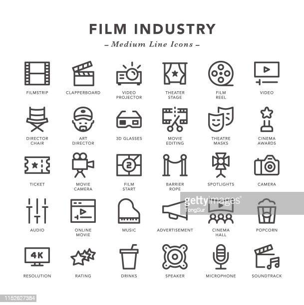 film industry - medium line icons - soundtrack stock illustrations, clip art, cartoons, & icons