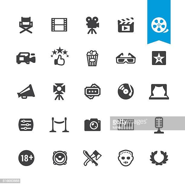 film industry & movies vector sign and icon - arts culture and entertainment stock illustrations
