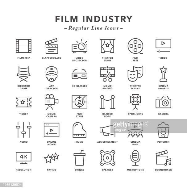 film industry - regular line icons - soundtrack stock illustrations, clip art, cartoons, & icons