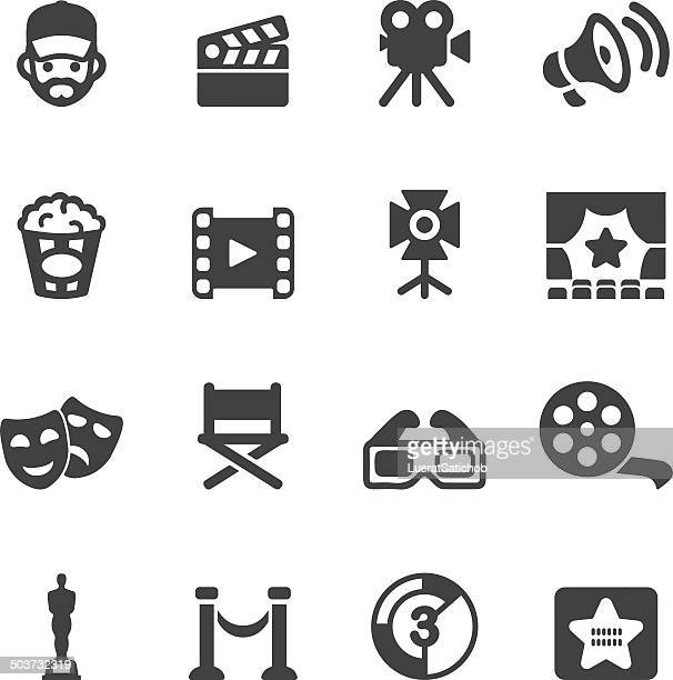 film industry silhouette icons | eps10 - video camera stock illustrations, clip art, cartoons, & icons