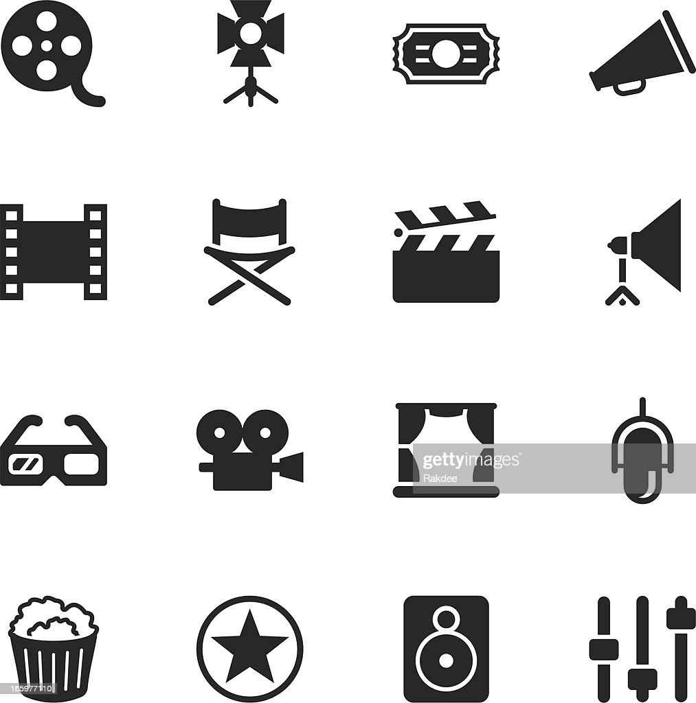 Film Industry Silhouette Icons : stock illustration