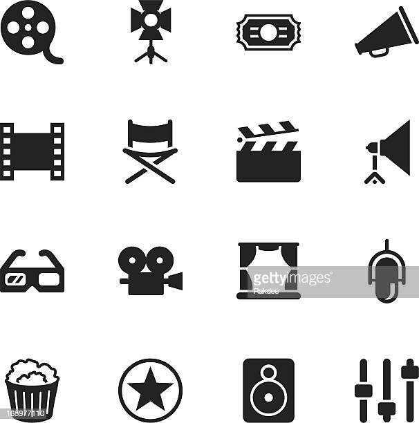 film industry silhouette icons - film studio stock illustrations, clip art, cartoons, & icons