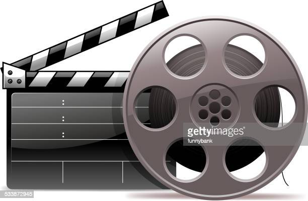 ilustraciones, imágenes clip art, dibujos animados e iconos de stock de industria cinematográfica - rollo de cine
