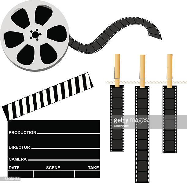 ilustraciones, imágenes clip art, dibujos animados e iconos de stock de elementos de película - rollo de cine